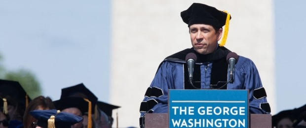 Photo of Chair Carbonell speaking at 2014 Commencement